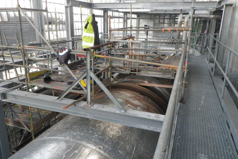 Une structure échafaudage a été mise en place pour l'ensemble des travaux
